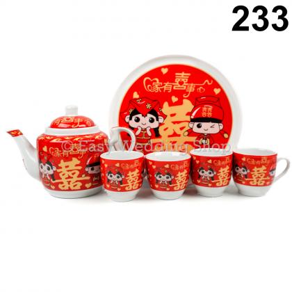 Chinese Traditional Ceramic Wedding Tea Set with 4cups 1 tray 1 teapot 敬茶茶具套装