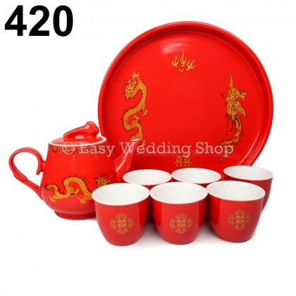 Chinese Traditional Ceramic Wedding Tea Set with 6cups and1 teapot 敬茶茶具套装 - 6个杯1个茶壶
