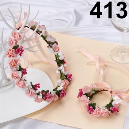 韩式森女花环皇冠发环新娘伴娘花童婚纱写真头饰头环手环 Bridesmaid Artificial Flower Adjustable Wedding Headband Crown andWristbandFlower Sets