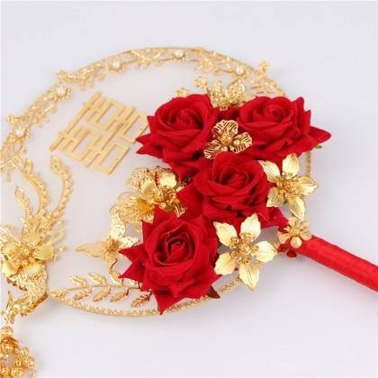 中式新娘凤凰结裙褂婚团扇 - 繁花似锦(已组装) Chinese Bride Phoenix Round hand fan - Blossoming Flowers (Ready Make)