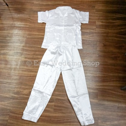 Wedding White Pajamas Silk Sleepwear Pajamas 白色上头睡衣